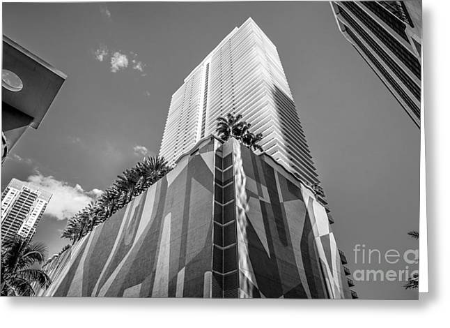Concrete Jungle Greeting Cards - Miami Downtown Buildings - Miami - Florida - Black and White Greeting Card by Ian Monk