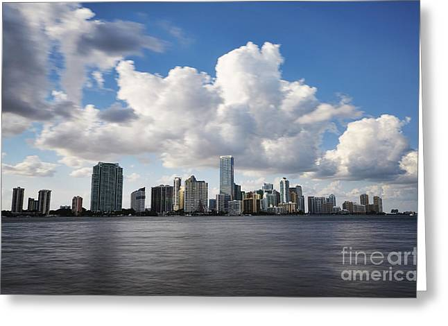 Sunset Posters Pyrography Greeting Cards - Miami Downtown in Slow Greeting Card by Eyzen M Kim
