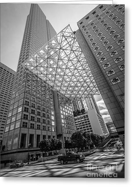 Concrete Jungle Greeting Cards - Miami Downtown Shadow play - Black and White Greeting Card by Ian Monk