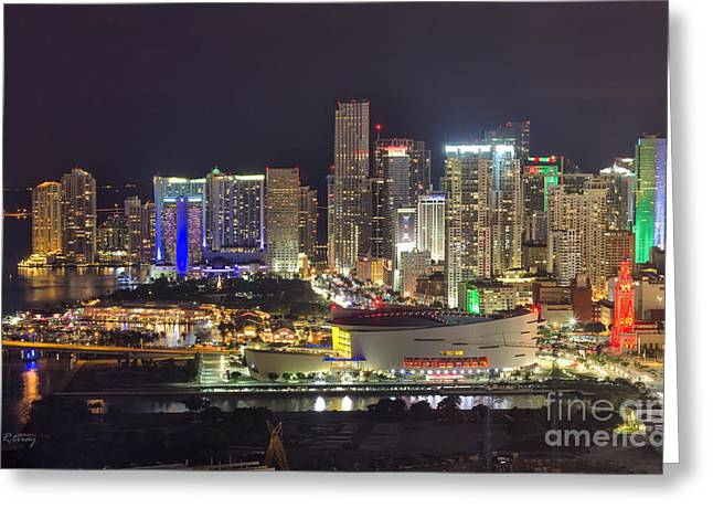 American Airlines Arena Greeting Cards - Miami Downtown Skyline American Airlines Arena Greeting Card by Rene Triay Photography