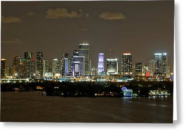 Skyline Pyrography Greeting Cards - Miami Evening Greeting Card by Nate Garner