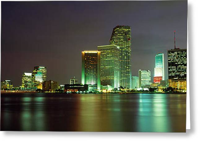 Brightly Lit Greeting Cards - Miami Fl Usa Greeting Card by Panoramic Images