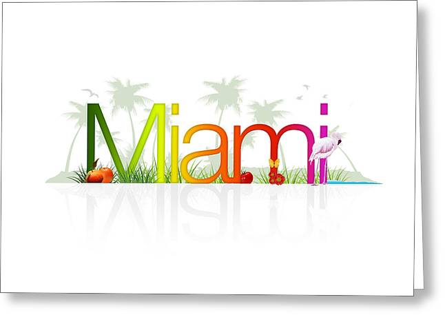 Flight Drawings Greeting Cards - Miami- Florida Greeting Card by Aged Pixel