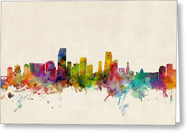 States Greeting Cards - Miami Florida Skyline Greeting Card by Michael Tompsett
