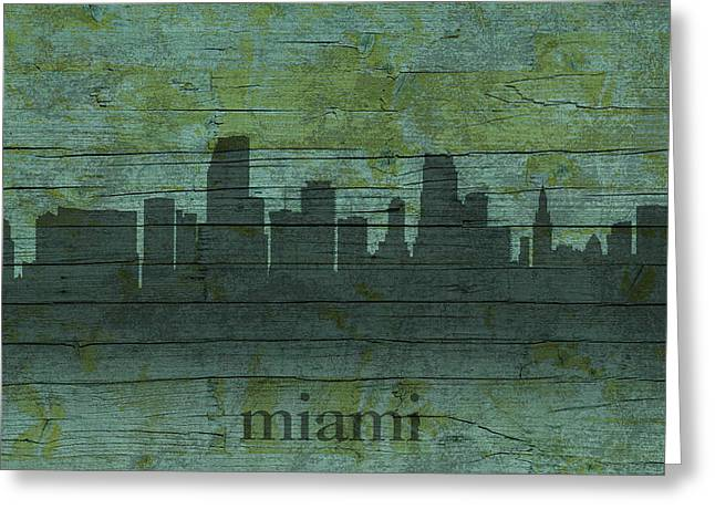 Miami Mixed Media Greeting Cards - Miami Florida Skyline Silhouette Distressed on Worn Peeling Wood Greeting Card by Design Turnpike