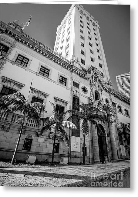Liberty Building Greeting Cards - Miami Freedom Tower 1 - Miami - Florida - Black and White Greeting Card by Ian Monk