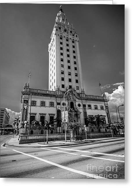 Liberty Building Greeting Cards - Miami Freedom Tower 4 - Miami - Florida - Black and White Greeting Card by Ian Monk