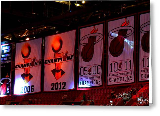Miami Heat Banners Greeting Card by J Anthony