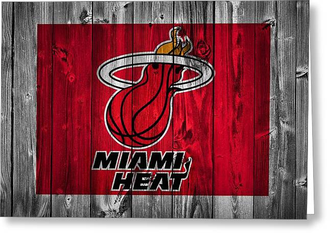 D. Wade Greeting Cards - Miami Heat Barn Door Greeting Card by Dan Sproul
