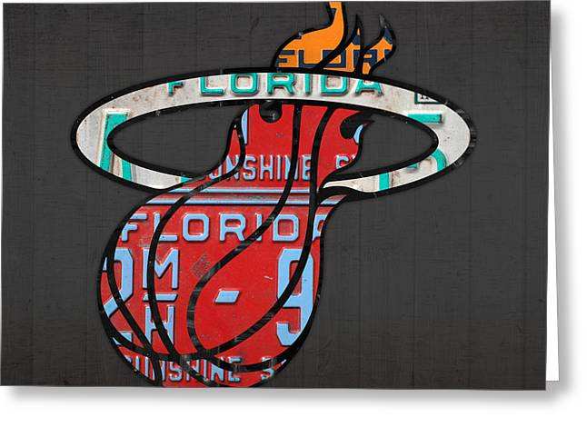 Miami Mixed Media Greeting Cards - Miami Heat Basketball Team Retro Logo Vintage Recycled Florida License Plate Art Greeting Card by Design Turnpike