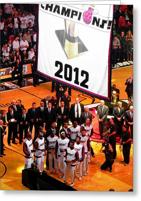 Miami Heat Digital Art Greeting Cards - Miami Heat Championship Banner Greeting Card by J Anthony