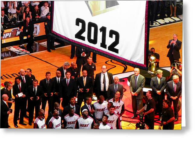 Miami Heat Championship Banner Greeting Card by J Anthony