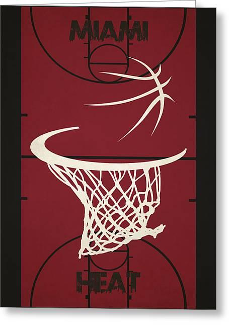 Miami Heat Photographs Greeting Cards - Miami Heat Court Greeting Card by Joe Hamilton