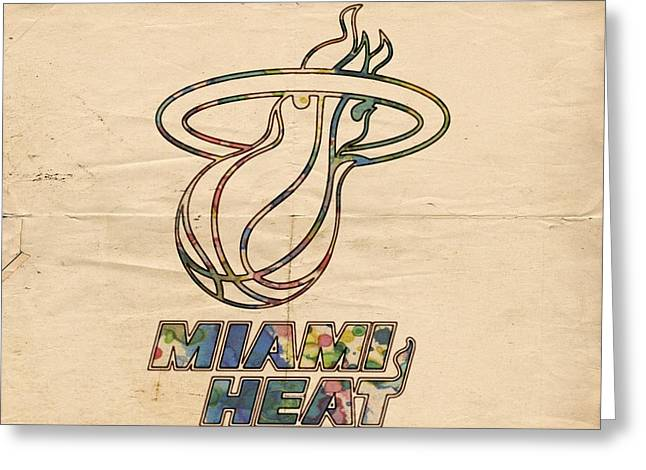 Miami Heat Posters Greeting Cards - Miami Heat Logo Poster Greeting Card by Florian Rodarte