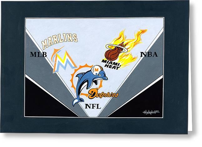 Miami Majors Greeting Card by Herb Strobino