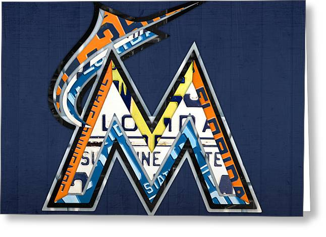 Miami Mixed Media Greeting Cards - Miami Marlins Baseball Team Vintage Logo Recycled Florida License Plate Art Greeting Card by Design Turnpike
