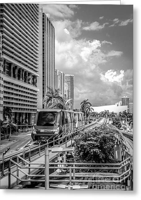 Approach Greeting Cards - Miami Metro Mover approaching station - Black and White Greeting Card by Ian Monk