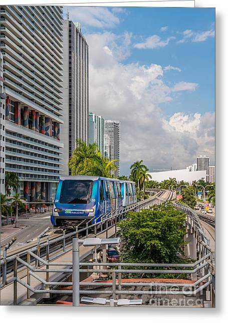 Approach Greeting Cards - Miami Metro Mover approaching station Greeting Card by Ian Monk