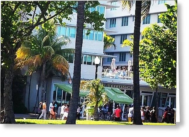 #miami #miami Beach #hotel #oceandrive Greeting Card by Judy Kay