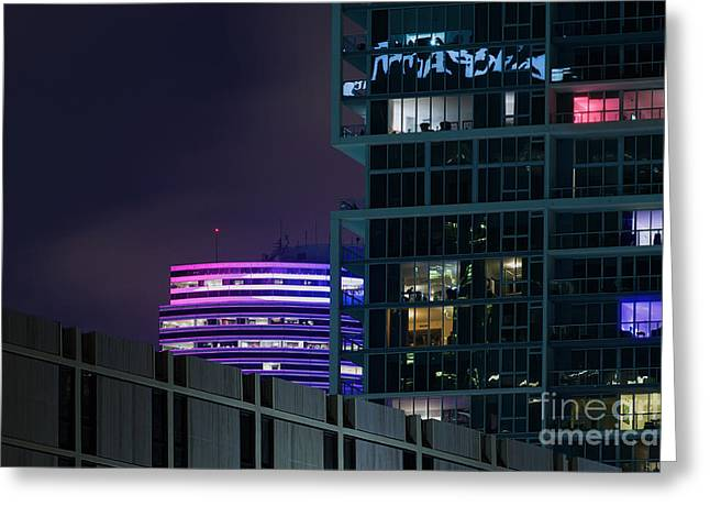 Ddmitr Greeting Cards - Miami Night Colors Greeting Card by Dmitry Chernomazov