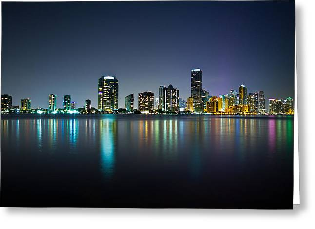 Beach Greeting Cards - Miami Night Skyline Greeting Card by Andres Leon