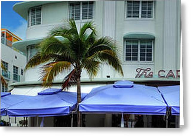 Beaches Greeting Cards - Miami - Ocean Drive Pano 002 Greeting Card by Lance Vaughn