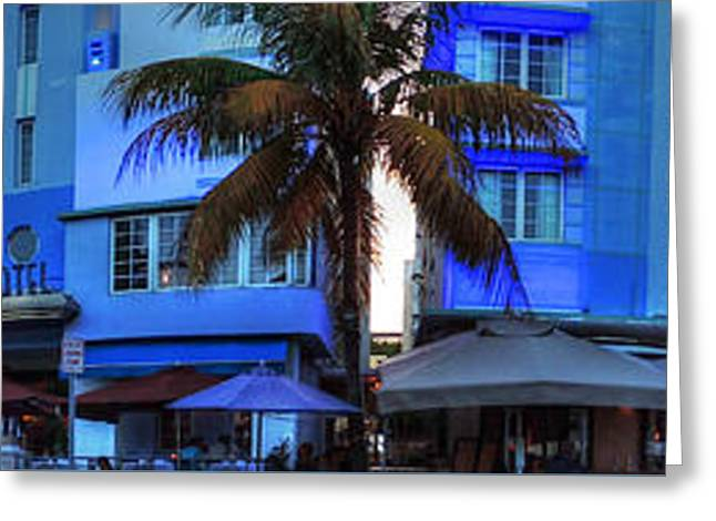 Sign Greeting Cards - Miami - Ocean Drive Pano 003 Greeting Card by Lance Vaughn