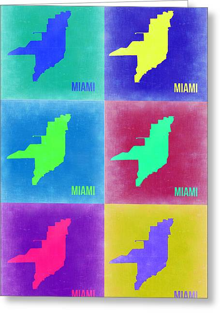Florida Art Greeting Cards - Miami Pop Art Map 3 Greeting Card by Naxart Studio