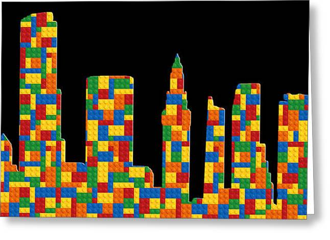 Lego Greeting Cards - Miami Skyline 2 Greeting Card by Andrew Fare
