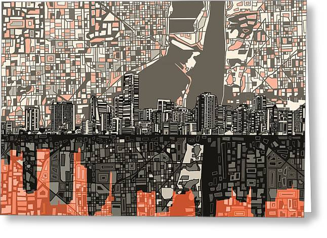 Urban Buildings Digital Greeting Cards - Miami Skyline Abstract 2 Greeting Card by MB Art factory