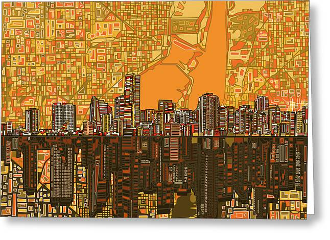Abstract Digital Greeting Cards - Miami Skyline Abstract 5 Greeting Card by MB Art factory