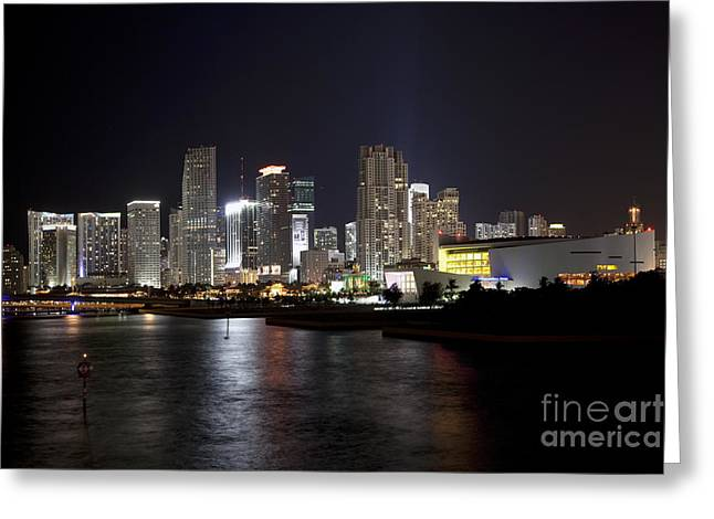 American Airlines Arena Greeting Cards - Miami Skyline and Arena at night Greeting Card by Bill Cobb