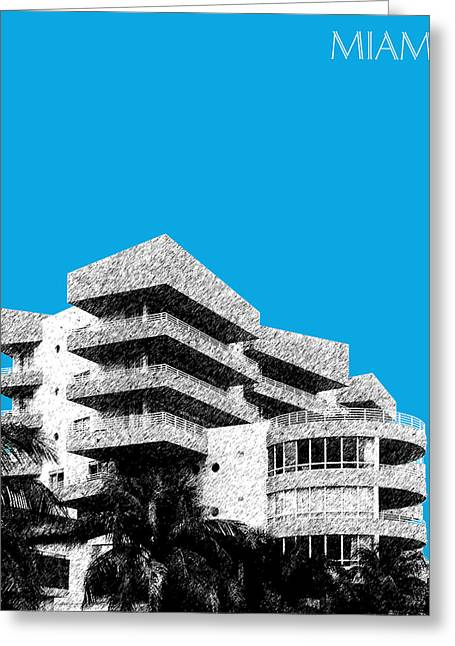Florida Art Greeting Cards - Miami Skyline Art Deco District - Ice Blue Greeting Card by DB Artist