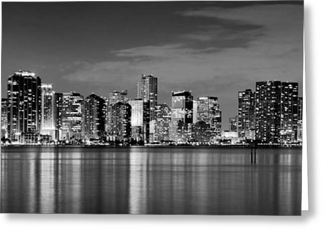 Panoramic Ocean Greeting Cards - Miami Skyline at Dusk Black and White BW Panorama Greeting Card by Jon Holiday