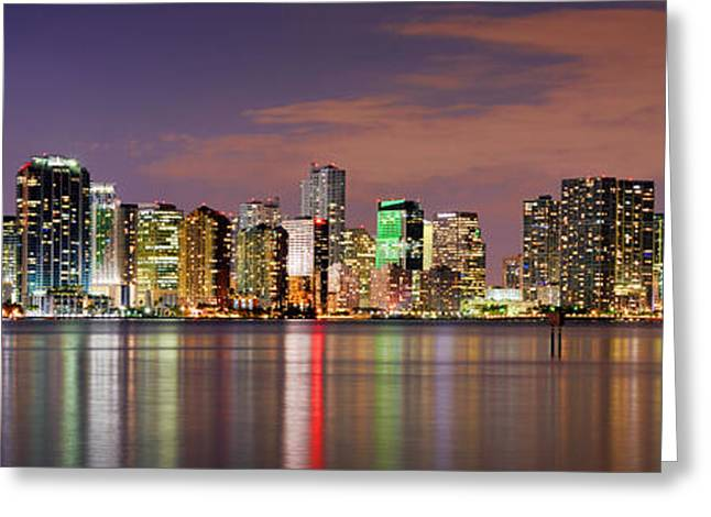 Panoramic Ocean Photographs Greeting Cards - Miami Skyline at Dusk Sunset Panorama Greeting Card by Jon Holiday