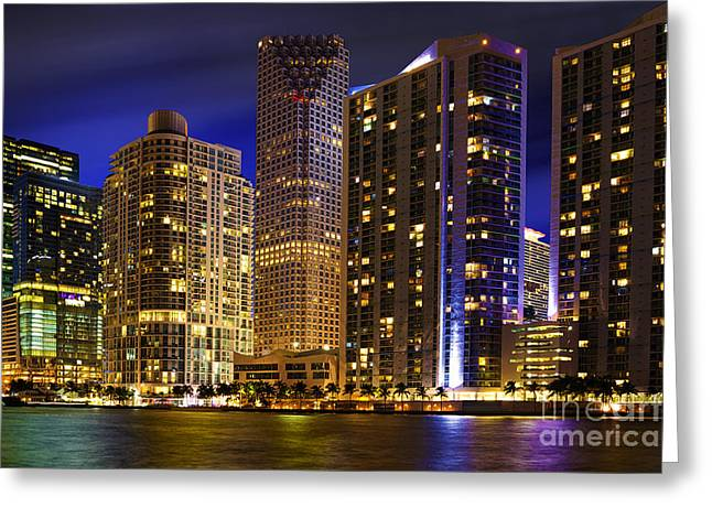 Ddmitr Greeting Cards - Miami Skyline at Night Greeting Card by Dmitry Chernomazov