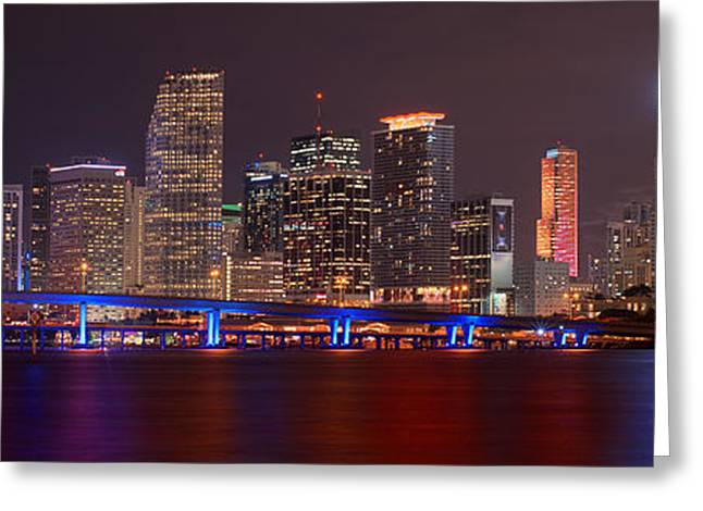 Recently Sold -  - Ocean Panorama Greeting Cards - Miami Skyline at Night Panorama Color Greeting Card by Jon Holiday
