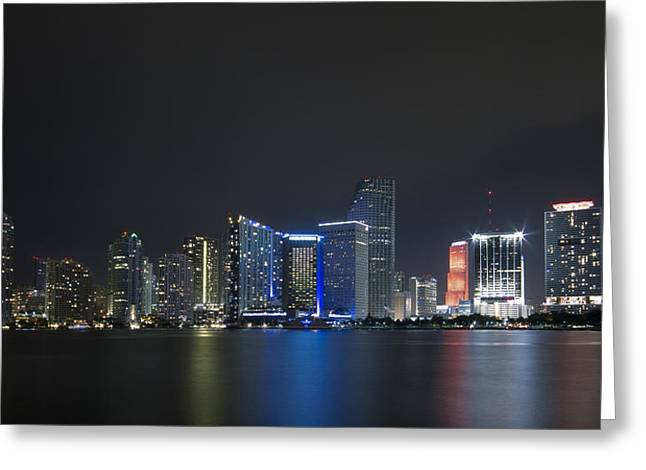 Miami Heat Greeting Cards - Miami Skyline Greeting Card by Frank Molina