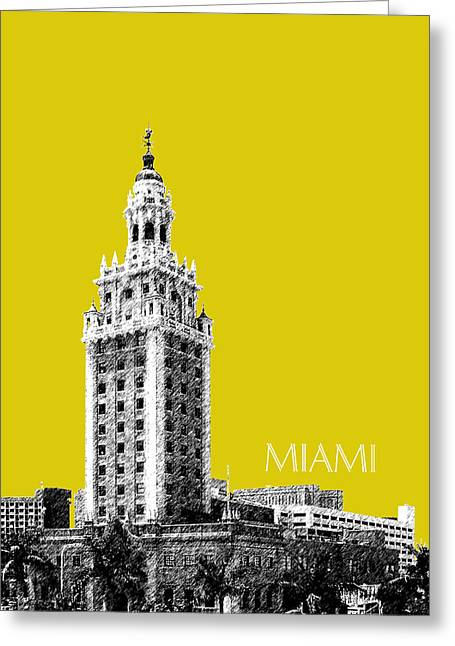 Florida Art Greeting Cards - Miami Skyline Freedom Tower - Mustard Greeting Card by DB Artist