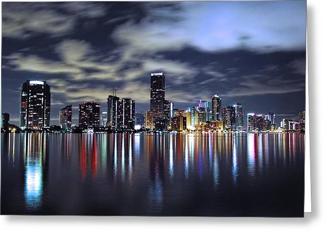 Miami Photographs Greeting Cards - Miami Skyline Greeting Card by Gary Dean Mercer Clark