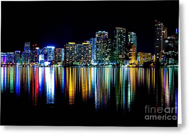 American Airlines Arena Greeting Cards - Miami Skyline high res Greeting Card by Rene Triay Photography
