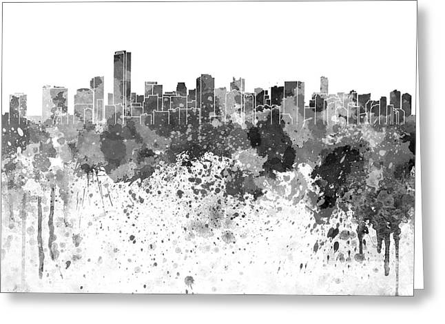 Miami Skyline Greeting Cards - Miami skyline in black watercolor on white background Greeting Card by Pablo Romero