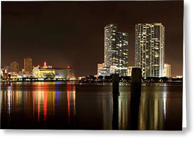 American Airlines Greeting Cards - Miami - Skyline Panorama Greeting Card by Brendan Reals