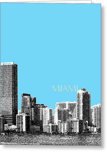 Florida Art Greeting Cards - Miami Skyline - Sky Blue Greeting Card by DB Artist