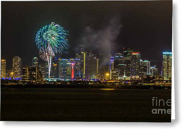 Miami Heat Greeting Cards - Miami Skyline Sparkle with Style Greeting Card by Rene Triay Photography