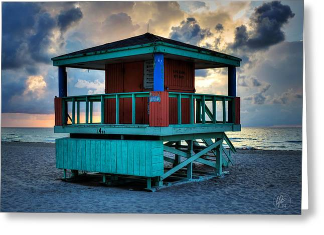 Lifeguard Tower Greeting Cards - Miami - South Beach Lifeguard Stand 001 Greeting Card by Lance Vaughn