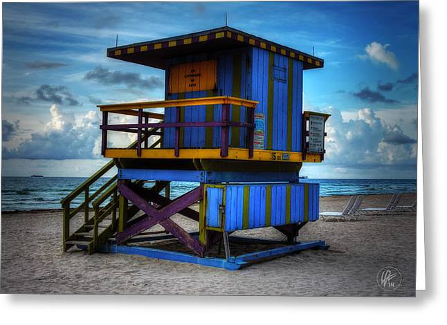 Miami - South Beach Lifeguard Stand 002 Greeting Card by Lance Vaughn