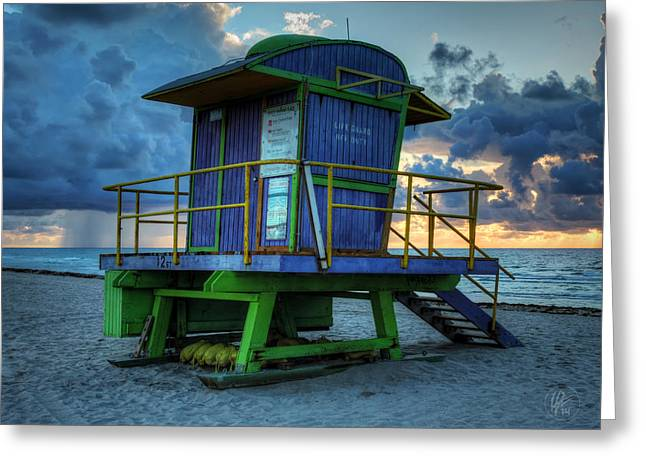 Lifeguard Tower Greeting Cards - Miami - South Beach Lifeguard Stand 003 Greeting Card by Lance Vaughn