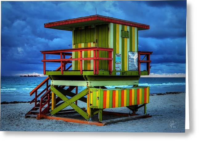 Weather Greeting Cards - Miami - South Beach Lifeguard Stand 006 Greeting Card by Lance Vaughn