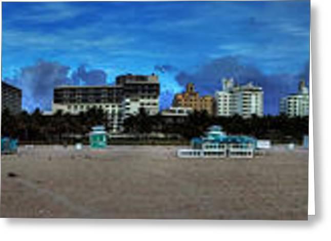 Ocean Vista Greeting Cards - Miami - South Beach Pano 001 Greeting Card by Lance Vaughn
